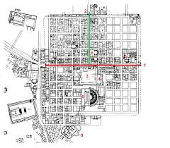 plan of timgad algeria 1 decumanus 2 cardo 3 forum 4 basilica