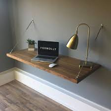 Small Wall Desk Floating Desk Wall Mounted Desk Walnut Wall Mounted Desk