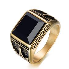 black zircon rings images 2018 brand new simple style black zircon mens stainless steel gold jpg