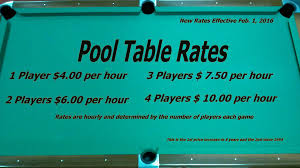 table rental prices pool room