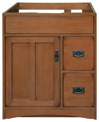 mission oak assembled vanity 1 door 2 drawers craftsman