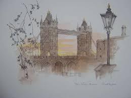 water coloured sketch of tower bridge london the nostalgia