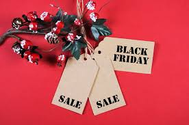 black friday sale tags with decorations stock photo