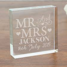 wedding gift ideas uk personalised wedding gift mr mrs large glass block