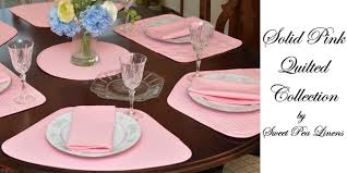 Table Runners For Round Tables Sweet Pea Linens Pink Solid Quilted Placemats For Round Tables