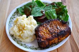 blackened pork chops and those special nudges southern plate
