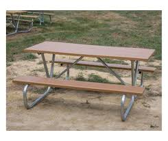 Galvanized Outdoor Chairs 6 Ft Wooden Picnic Table With Heavy Duty Welded Galvanized Steel