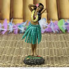 hawaiian pose green skirt dashboard hula doll tiki decor
