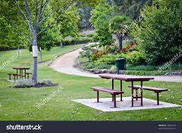 outdoor furniture park punchbowl reserve launceston stock photo