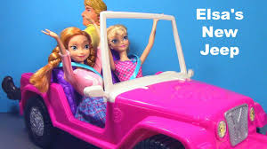 jeep barbie frozen elsa and anna review barbie safari jeep toy review youtube