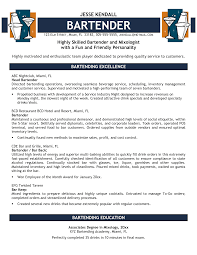Bar Resume Examples by Bartender Resume Sample Berathen Com