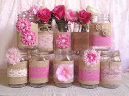 Mason Jar Vases For Wedding 10x Rustic Burlap And Pink Lace Covered Mason Jar Vases Wedding