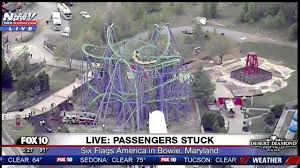 Weather At Six Flags Nj Watch 24 Passengers Stuck On Roller Coaster At Six Flags Dc Youtube