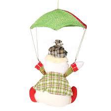 santa claus snowman in parachute christmas xmas tree hanging home