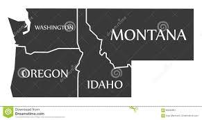 Oregon And Washington Map by Washington Oregon Idaho Montana Map Labelled Black Stock