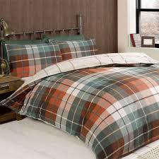 Green Duvet Cover King Size Modern Tartan Check Duvet Cover Terracotta Orange Brown U0026 Green