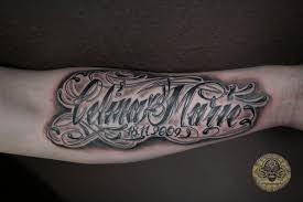 chicano calina marie lettering tattoo on arm real photo pictures