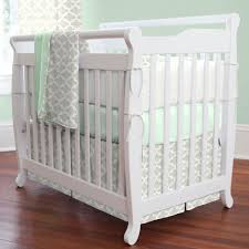 Mini Cribs Gray Quatrefoil Mini Crib Skirt Box Pleat Carousel Designs