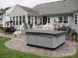 Backyard Concrete Patio Ideas by Stamped Concrete Patio And Hot Tub Outside Spaces Pinterest