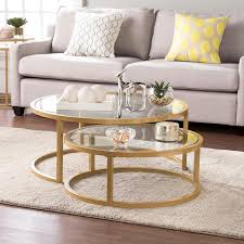 round gold glass coffee table round gold glass nesting cocktail table