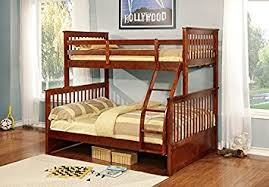 Built In Bunk Bed Plans Amazon Com Twin Over Full Bunk Bed With Built In Ladder Kitchen