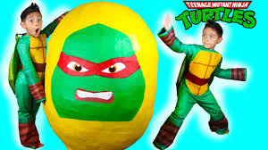 leonardo ninja turtle halloween costume giant egg surprise opening ninja turtles out of the shadows toys