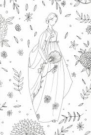 coloring page korean traditional clothing asian
