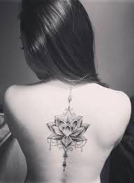 mandala lotus flower back spine tattoo placement ideas for women