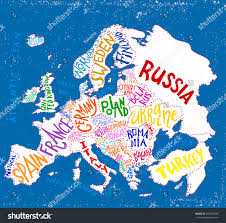 European Countries Map Vector Europe Map Decorative Typography Poster Stock Vector