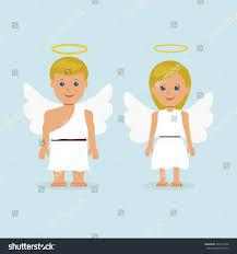 illustration man woman dressed angel wings stock vector 307413458