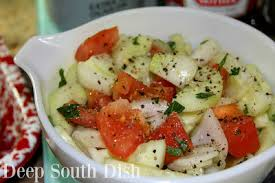 deep south dish simple summer cucumber onion and tomato salad