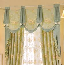 Curtains Beautiful Light Green Floral Jacquard No Valance