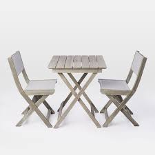 Folding Bistro Chairs Portside Folding Bistro Set Weathered Gray West Elm