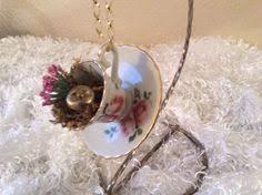 miniature vintage teacup and saucer ornament decorated teacup