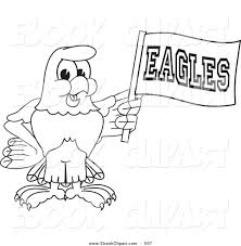 vector clip art of a black and white outline bald eagle hawk or
