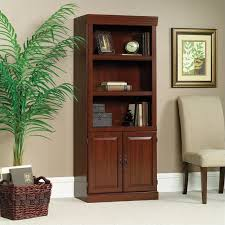 Cherry Wood Bookcase With Doors 3 Shelf Wood Bookcase In Classic Cherry 102792