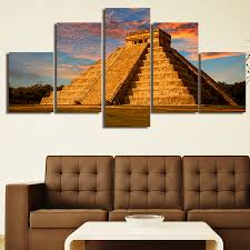 Home Decor Paintings For Sale Aliexpress Com Buy 5 Panels Mexican Pyramid Printed Print Home