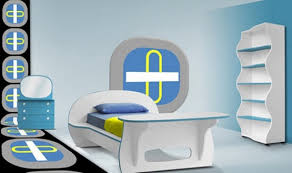 White  Blue Modern Kids Bedroom Furniture Home Interiors - Modern kids room furniture