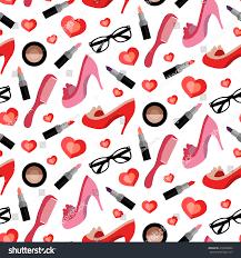 fashion girlish seamless pattern glamorous elements stock vector