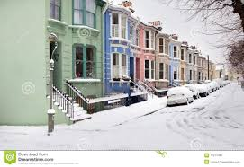 house street england snow winter royalty free stock image image