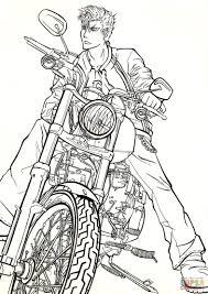 grimmjow jaegerjaquez on motorbike harley davidson from manga