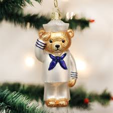 old world christmas navy bear glass ornament