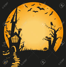 halloween illustration with haunted house bats owl and pumpkins