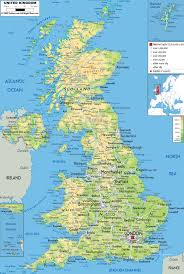 Europe Physical Map by Large Physical Map Of United Kingdom With Roads Cities And