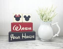 Mickey Mouse Bathroom Accessory Set Mickey Mouse Minnie Mouse Bathroom Decor Wash Behind Your Ears