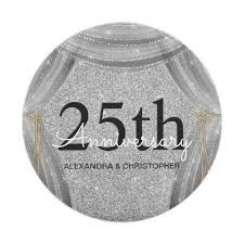 25th wedding anniversary plates 25th wedding anniversary silver and black sparkle paper plate
