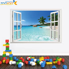 online get cheap window wall murals aliexpress com alibaba group window frame whole view stickers zooyoo1430 3d wall mural art living room decoration home decor eco