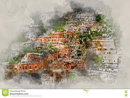 Positano Italy Map by Digital Watercolor Painting Of Positano Italy Stock Illustration