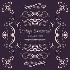 ornaments collection in vintage style vector free