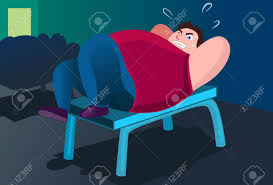 an image of a fat man lying on a bench in a gym and trying to